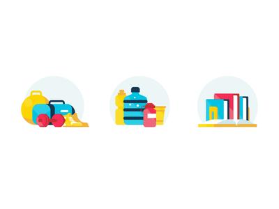 Habit Icons commit habits reading books water excercise illustration icon ux ui