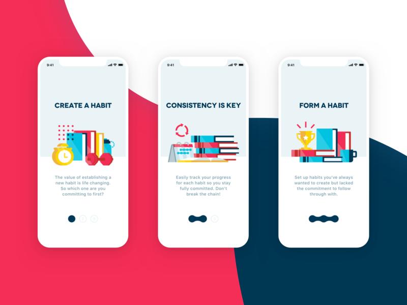Commit Onboarding icon app branding ux ui illustration excercise books commit habits