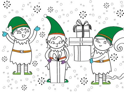 Elves line art graphic illustrator