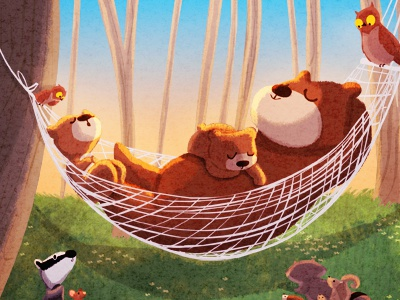 bear down bear cubs illustration owls forest animals hammock sleeping childrens kids story art kids book