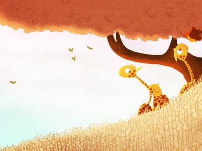 Golden giraffe monkey tree birds animals illustration art