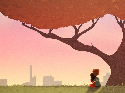 Peaceful illustration art peace cute couple happy sunset