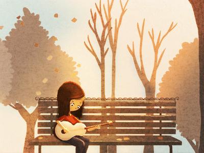 Acoustic guitar guitar girl music bench trees illustration art nidhi chanani autumn
