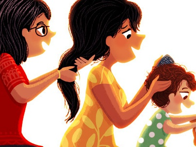 Generations hairstyle combing hair baby women ladies girls hair family indian illustration