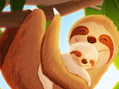 The slow life characters animals cute baby sloth illustration sloth