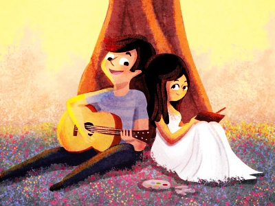 playing and painting digital painting pretty flowers spring artist illustration couple music guitar digital illustration