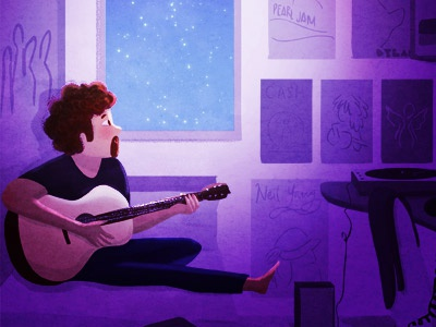 Music theory mood purple stars night nidhi chanani illustration guitarist musician digital painting digital art guitar