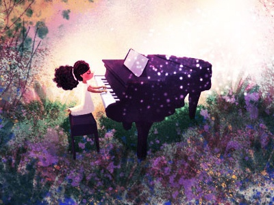 key of life digital illustration digital painting concept art black girl girl music pianist keys piano forest art illustration