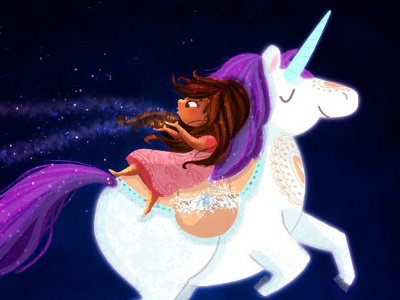 ek tara, do tara digital art digital painting nidhi chanani stars girl illustration night sky unicorn