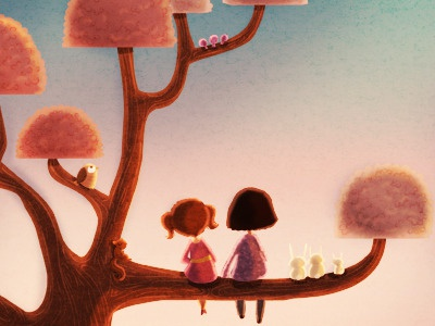 Silent sunlight girls illustration art children animals