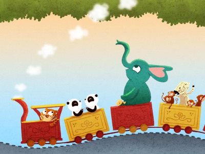 All aboard animals train cute illustration