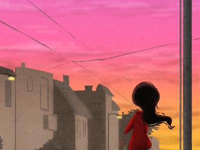 inner sunsetting san francisco light sunset illustration