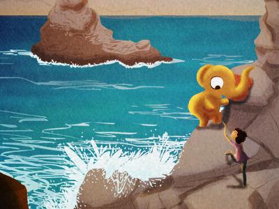 i believe in you elephant illustration girl friends ocean