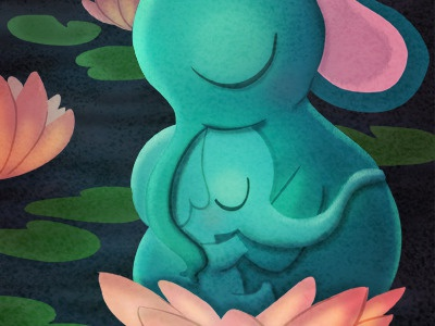 tenderness elephants mother lotus illustration