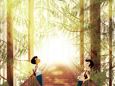 we met in college redwood trees bridge illustration friends california trees light
