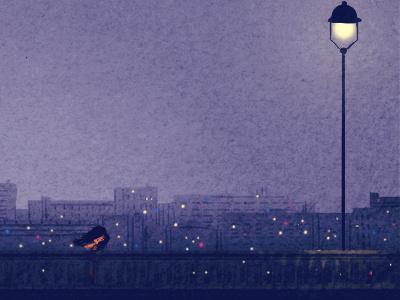 midnight in paris paris illustration bridge light city night mood