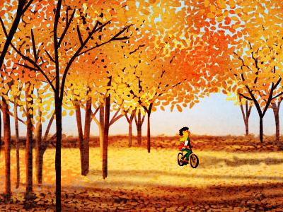 season of love fall autumn colors colorful illustration bike biking
