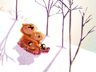 dashing through the snow snow winter bears penguins sled sledding art illustration