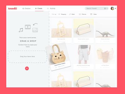 Trendii - UI Iterations ui trendii ux design web interface drag drop