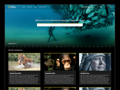 National Geographic - Producers Portal yellow animals nature geographic national ui black ux design web geo nat