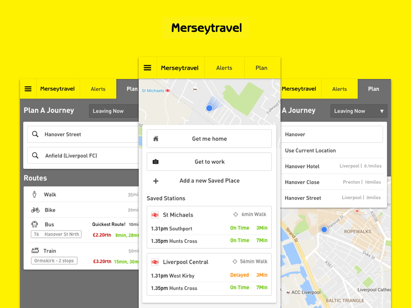 Merseytravel Redesign west north yellow merseytravel app travel mersey liverpool