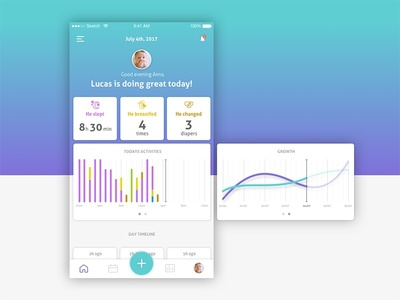 Baby Tracking   Part 3 graphics icons baby interface uidesign mobile dashboard app ios ux ui