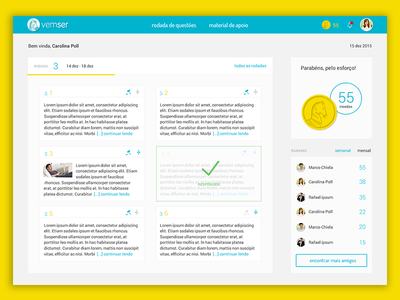 UI for a concourse study platform 3 gamification dashboard online study online class product design visual design ux design timeline ui design user interface design ui