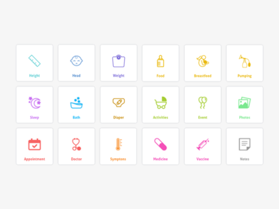 Baby Tracking App   Part 6 iconography icons tracking baby visual design ux design ui design user interface design ux concept ui