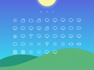 Weather Icons Day wind sun snow rain pictograph lightning icons hail drizzle cloud icon weather