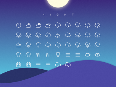 Weather Icon Night wind sun snow rain pictograph lightning icons hail drizzle cloud icon weather