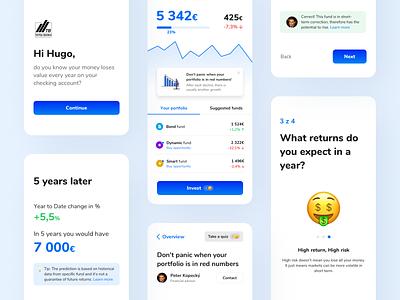 Investment mobile app for Tatrabanka (Hackathon) onboarding investing hackathon investment finance invest ux strategy ux design ui design ux ui front-end development design concept app