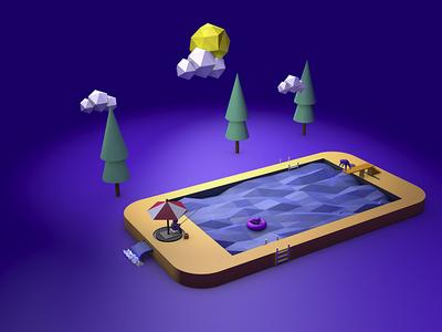 Smartphone Pool (C4D) trees pool water iphone smartphone c4d 3d