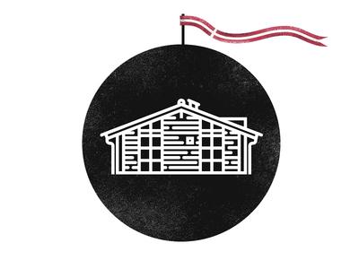 Holiday House Denmark cabin cricle icon holiday flag house denmark