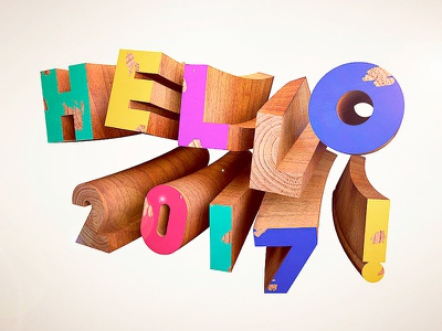 Hello 2017 cinema 4d cd4 3d bulding block typo type wooden wood new year 2017 hello