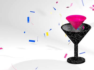 Cocktail  terrazzo fluid party 3d c4d cheers drink cocktail