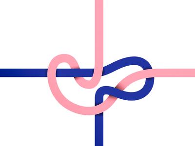 Making a knot ... rose blue vector present gift ribbon band node kink knot
