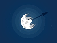 Moon & Rocket