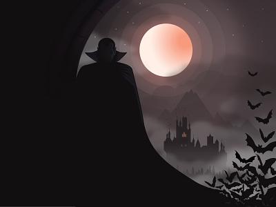 Dracula bats fog halloween night moon castle illustration