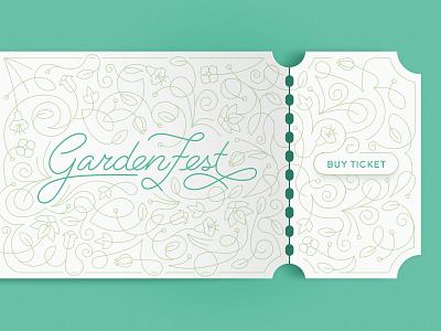 GardenFest Ticket ticket ui leaf flower festival garden ornament lines