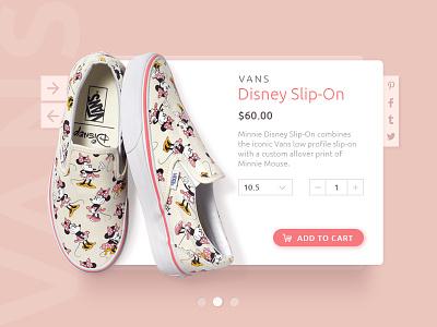 Vans Product Card minnie mouse shoe e-commerce shop interface minimal card ui disney