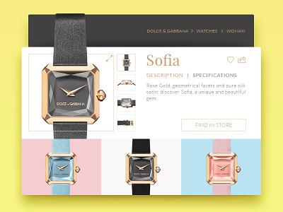 D&G Watch UI card product colors minimal dolce  gabbana ui interface watch