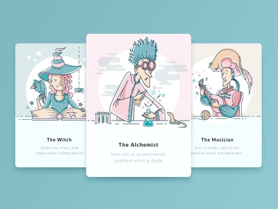 Funny Personas character design vector cat musician alchemist witch line art illustration cards