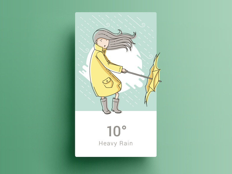 Four Seasons - Fall widget ui illustration line art girl umbrella rain weather card