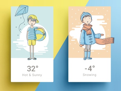 Four Seasons - Summer & Winter widget snow line art weather ui cards