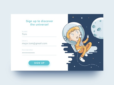 Discover the Universe sign up vector line art ui card stars space astronaut moon