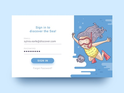 Discover the Sea underwater diving fish ocean illustration ui card sign in