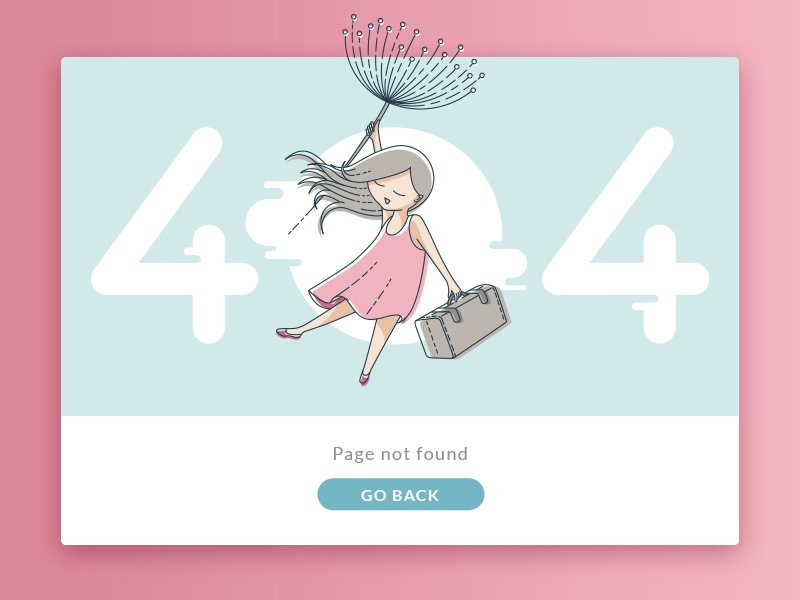 404 Page web ui travel dandelion card illustration summer 404