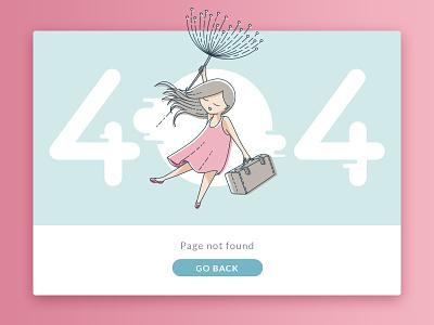 404 Page web ui travel dandelion card illustration summer 404
