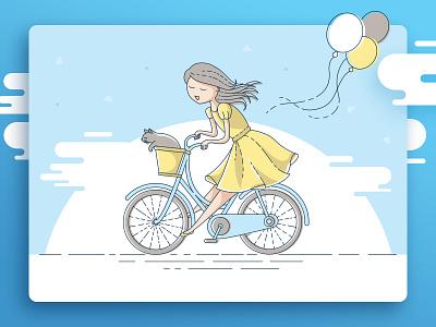 Bicycle Ride vector flat bike cat girl illustration card