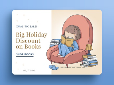 Books Discount Modal holidays xmas christmas ui sofa reading girl vector illustration discount books popup